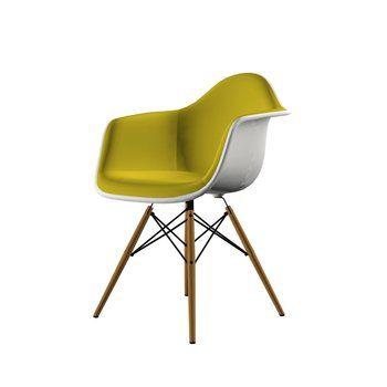 Vitra - Eames Plastic Armchair DAW Stuhl gepolstert - gelb-weiß/Sitzpolster Hopsak 71 gelb/BxHxT 62,5x83x60cm/Gestell Esche/mit Filzgleitern schwarz
