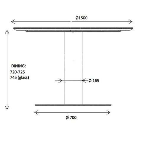 Gubi - 2.0 Dining Table Tisch Gestell Messing Ø150cm - Strichzeichnung