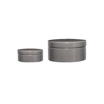 Bloomingville - Jar Grey Schale mit Deckel 2er-Set - grau/H4.5cm x Ø11cm/H8cm x Ø16.5cm