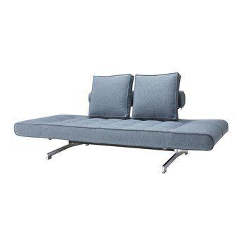 Innovation - Ghia Schlafsofa - hellblau/Stoff 525 Mixed Dance Light Blue/Gestell chrom/B: 180-210cm