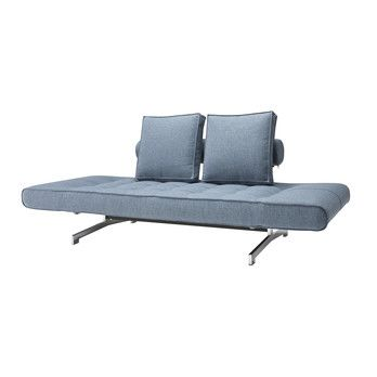 Innovation - Ghia Schlafsofa - hellblau/Stoff 525 Mixed Dance Light Blue/Gestell chrom/B: 180-210cm