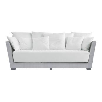 Gervasoni - InOut 503 Polyrattan Outdoor-Sofa - weiß/hellgrau/Sitzpolster & Kissen: Stoff Gesso/Füsse Aluminium lackiert/inkl. 5 Kissen 52x52 cm & 5 Kissen 67x67 cm