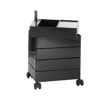 Magis - 360° Container 72 mit Rollen - schwarz/glänzend/Schubfachhöhe 9,8 cm/ 32x46x72cm/inkl. Tablett/5 Schubladen