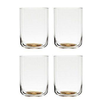 HAY - Colour Glass High Gläser-Set 4tlg. - goldener Punkt/transparent/H 9cm, Ø 6,5cm , 25cl