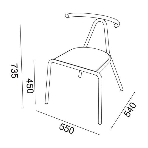 B-Line - Toro Stuhl Sitzfläche Platinum Flukso - Strichzeichnung