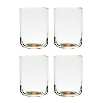 HAY - Colour Glass High Gläser-Set 4tlg. - goldener Punkt/transparent/H 9cm, Ø 6,5cm , 25cl