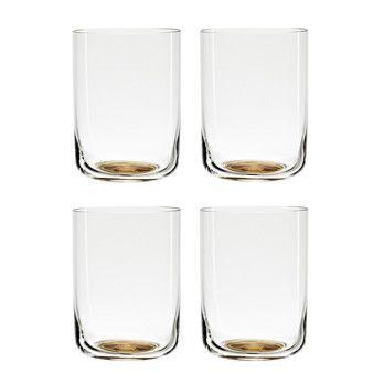 HAY - Colour Glass High Gläser Set  - goldener Punkt/transparent/4 Stück/H x Ø 6,6 x 8,8cm
