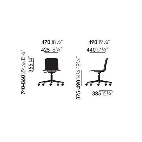 Vitra - HAL Studio Drehstuhl mit Sitzpolster - Strichzeichnung