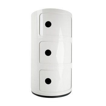 Kartell - Componibili 3 Container - weiß/glänzend/H 59cm/ Ø 32cm