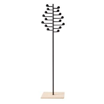 Arper - Song Garderobenständer - anthrazit//Bodenplatte Eiche natur/mit 16 Armen in Form von Musiknoten/H x B x T: 177.5 x 43 x 43cm