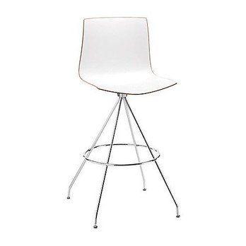 Arper - Catifa 46 0487 Barhocker mit Drehfuß - weiß/Außenschale glänzend/innen matt/Gestell verchromt/Sitzhöhe 73cm