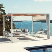 Kettal - Landscape Pavilion  - frame white/incl. 1 blind natural white/incl. 2 curtains light grey/incl. cedar wood ceiling cover