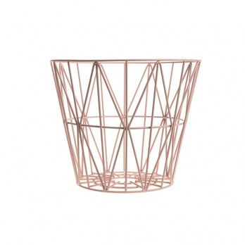 ferm LIVING - Wire Drahtkorb Small - rosa/Ø 40cm / H 35cm