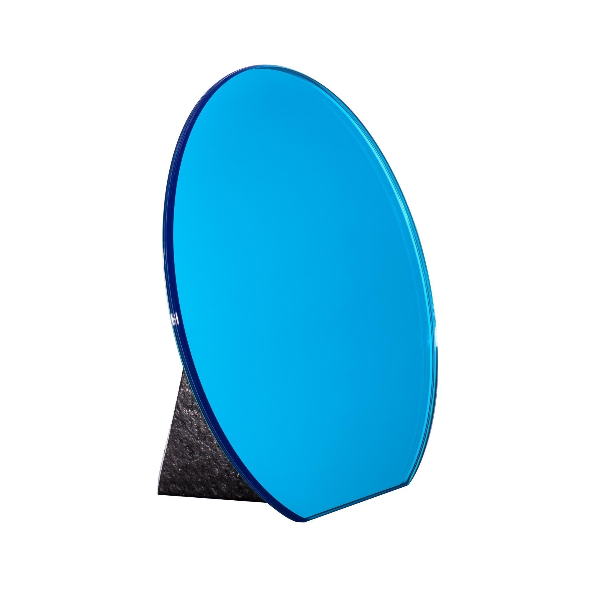 Pulpo Dita Table Mirror Ø30cm Cobalt Blue Pedestal Black