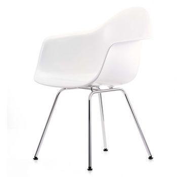 Vitra - Eames Plastic Armchair DAX Armlehnstuhl - weiß/Polypropylen/Vierbeingestell chrom