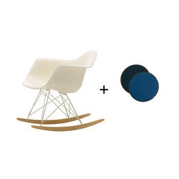 - Aktionsset RAR Schaukelstuhl + Sitzkissen - creme/blau/Sitzschale Polypropylen/Kissen blau/Gestell Farbe elfenbein/Kufe Ahorn gelblich/Limitierte Edition