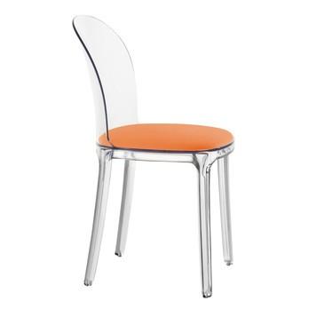 Magis - Vanity Chair Stuhl Transparent - transparent/Stoff Kvadrat Field 542/Kissen orange/mit Filzgleitern