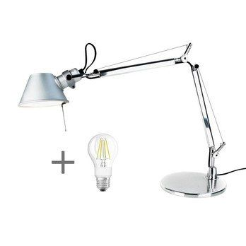 Artemide - Aktionsset Tolomeo Micro Tavolo + LED - aluminium/poliert/eloxiert/BxH 45x37cm/mit Standfuß/LED Leuchtmittel geschenkt
