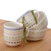 iittala - Sarjaton Geschenkset Nr. 3 - weiß/Muster Tikki/2 Henkelbecher/2 kl. Schalen