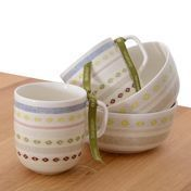 iittala - Sarjaton Gift Set No. 3 - white/Tikki pattern/2 mugs/2 small bowls