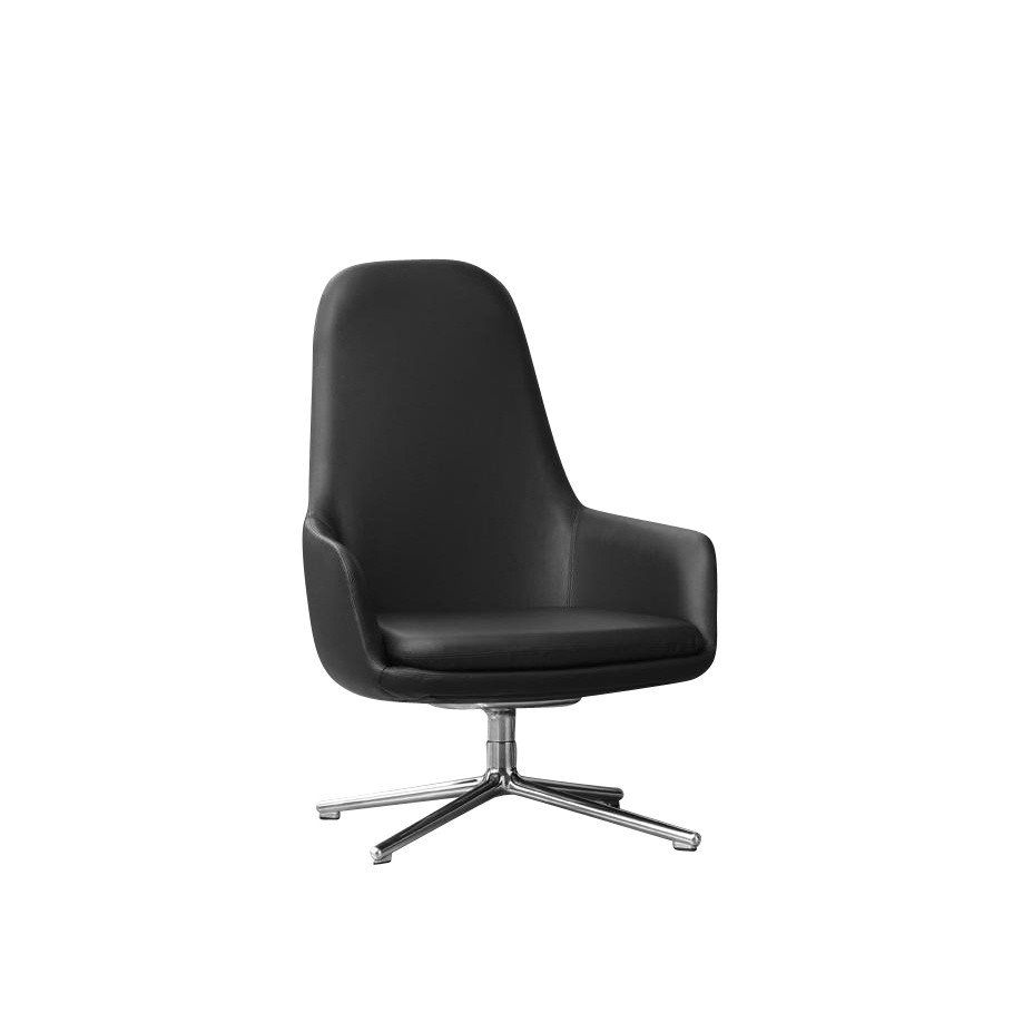 Normann Copenhagen   Era Lounge Chair High Swivel Chair Leather   Black ...