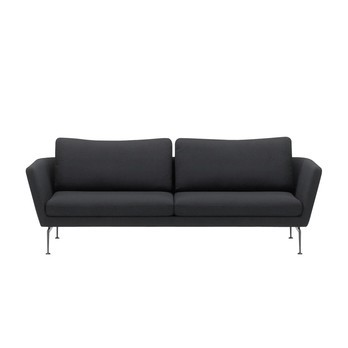 Vitra - Suita Citterio 3-Sitzer Sofa - schwarz/Gestell aluminium/Stoff Laser black 04/Bezüge abnehmbar/mit 2 Rückenkissen Classic
