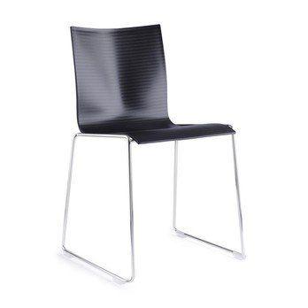 Engelbrechts - Chairik 107 Stuhl - schwarz/Kunststoff/Gestell: 11mm Draht blankverchromt/47x53x77cm/mit Filzgleitern