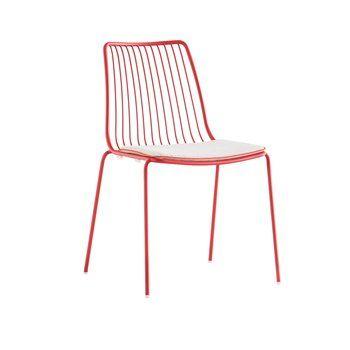Pedrali - Nolita 3659.3 Sitzkissen - weiß/Keder rot/Ohne Stuhl