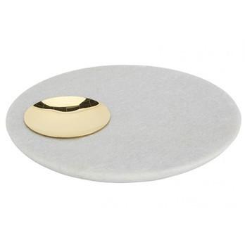 Tom Dixon - Stone Servierplatte - messing/weiß/Marmor/H 3cm/Ø 20.2cm