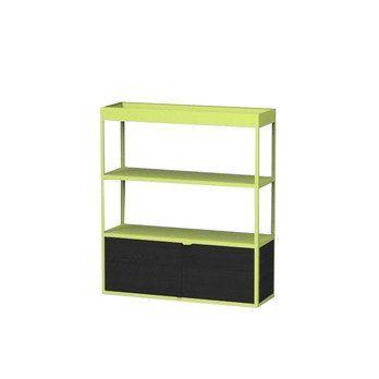 HAY - New Order Regal mit Tür 100x115cm - gelb/esche dunkelgrau gebeizt/lackiert/mit 1 Holztür