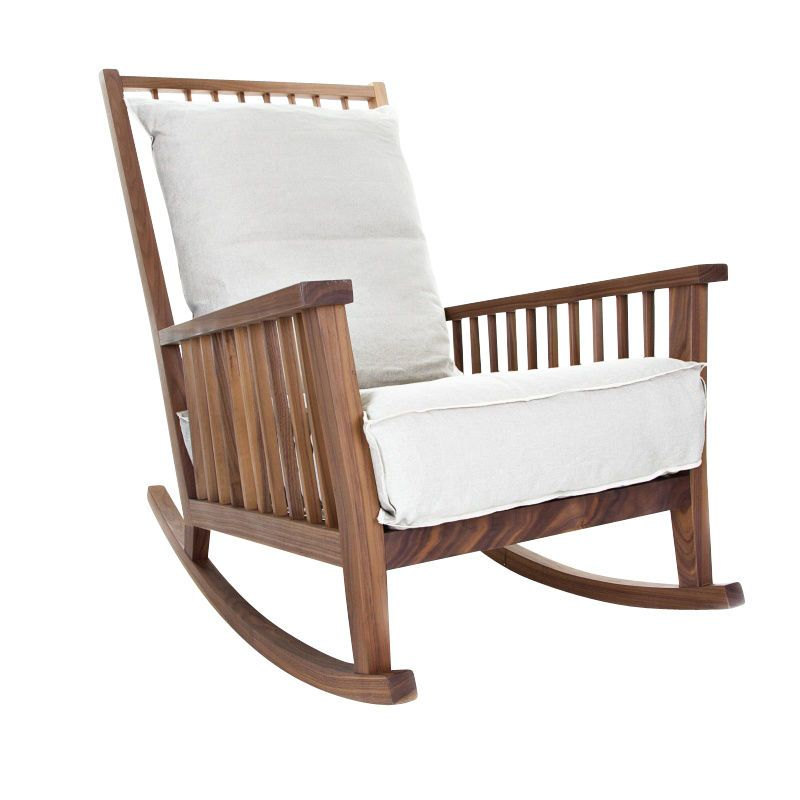 Gervasoni   Gray 09 Rocking Chair   Walnut/upholstering Nature/fabric:  Natural Panama
