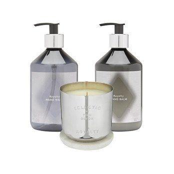 Tom Dixon - Eclectic Royalty Geschenk-Set M - schwarz-nickel/1x Kerze M: 8,5x8x8cm/1x Handseife, 1x Handlotion
