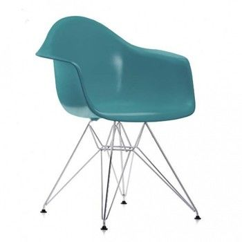 Vitra - Eames Plastic Armchair DAR Armlehnstuhl H41cm - ocean blau/Polypropylen/Eiffelturmgestell chrom/Originalhöhe