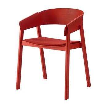 Muuto - Cover Armlehnstuhl gepolstert - rot/Sitz Textil Remix 643 gepolstert/Gestell eiche rot lackiert/56.5x76x46cm