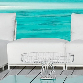 Gervasoni - InOut 808 Outdoor Hocker / Ottoman - weiß/Stoff Gesso/glänzendes PVC/Gestell weiß/Aluminium matt lackiert
