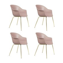 Gubi - Set de 4 chaise avec accoudoirs Bat structure laiton