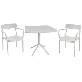 emu - Grace Gartenset - weiß/pulverbeschichtet/2 Stühle : BxHxT 58x78x52cm/Tisch: LxBxH 80x80x74cm