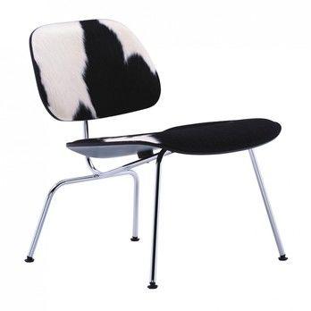 Vitra - LCM Eames Stuhl Kuhfell - Fell schwarz/weiß/Esche schwarz /Gestell chrom