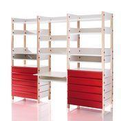 Magis - My Storage Regalwand Kinderzimmer - buche/Ablagen weiß Schübe rot/inkl. 13 Ablagen/inkl. 10 Schubladen und Schreibtisch
