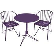 Fermob - Flower Set 2 Gartenstühle + 1 Gartentisch - aubergine/lackiert