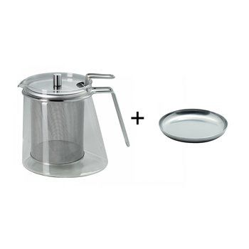mono - Aktionsset Teekanne + Siebablage - edelstahl/mono ellipse Teekanne 1,3l/Siebablage gratis