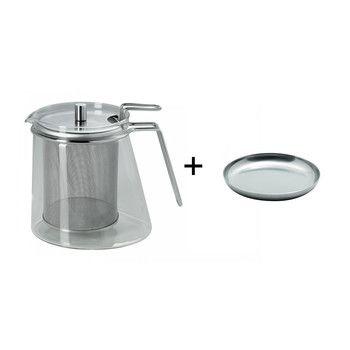 - Aktionsset Teekanne + Siebablage - edelstahl/mono ellipse Teekanne 1,3l/Siebablage gratis