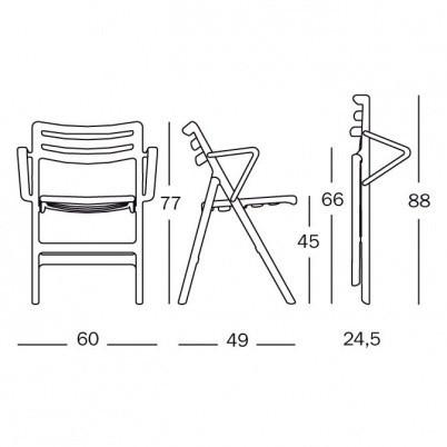 Magis - Folding Air Chair mit Armlehnen - Strichzeichnung