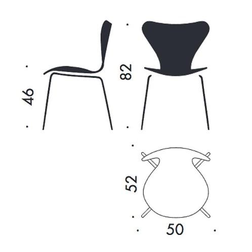 Fritz Hansen - Serie 7 Stuhl Leder vollgepolstert 46cm - Strichzeichnung
