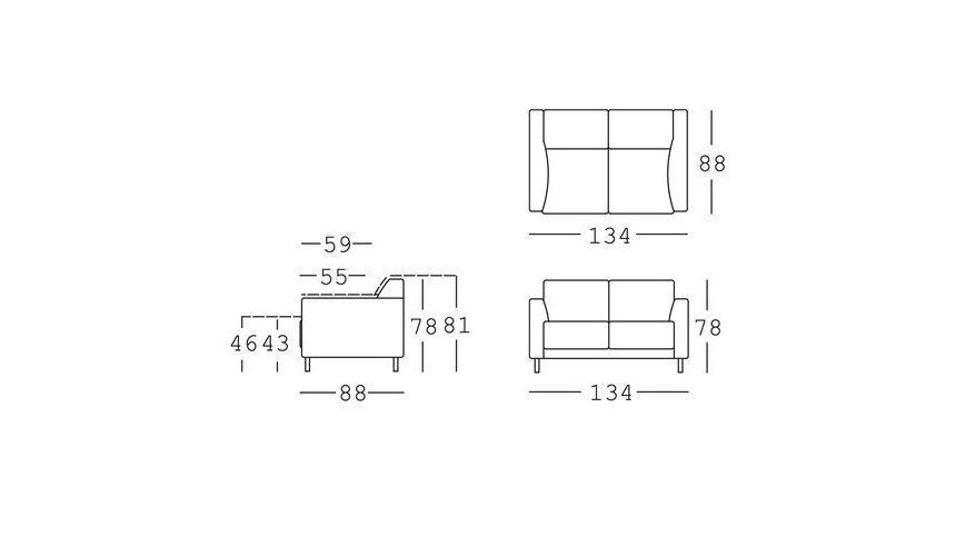 freistil 141 2 seater leather sofa freistil rolf benz. Black Bedroom Furniture Sets. Home Design Ideas
