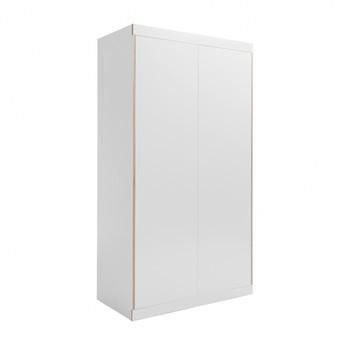 müller möbelwerkstätten - Flai Kleiderschrank mit 2 Türen - weiß/1.9cm CPL-Beschichtung/1 Regalboden/1 Kleiderstange/Push-to-Open-Mechanik/BxHxT 118x216x61cm