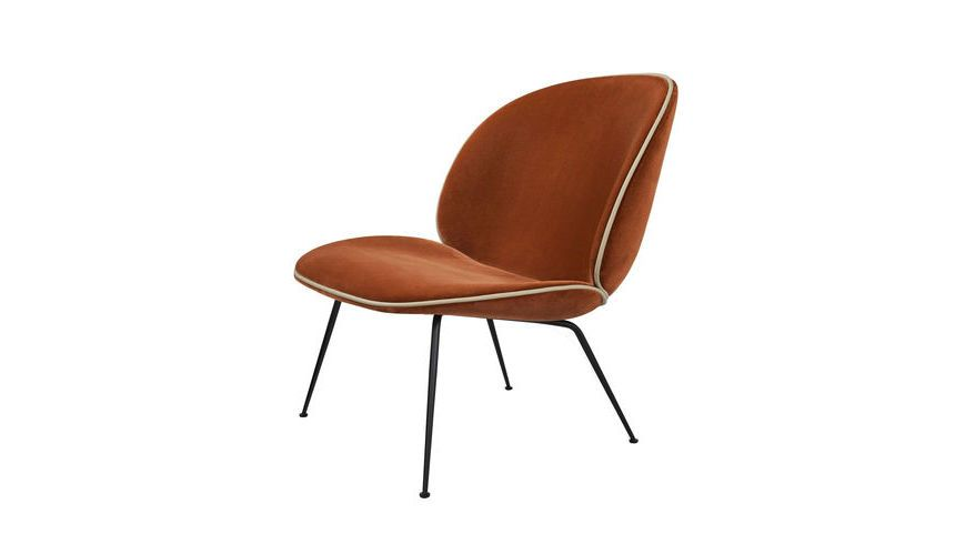 Beetle lounge sessel samt gestell schwarz gubi for Sessel rot samt