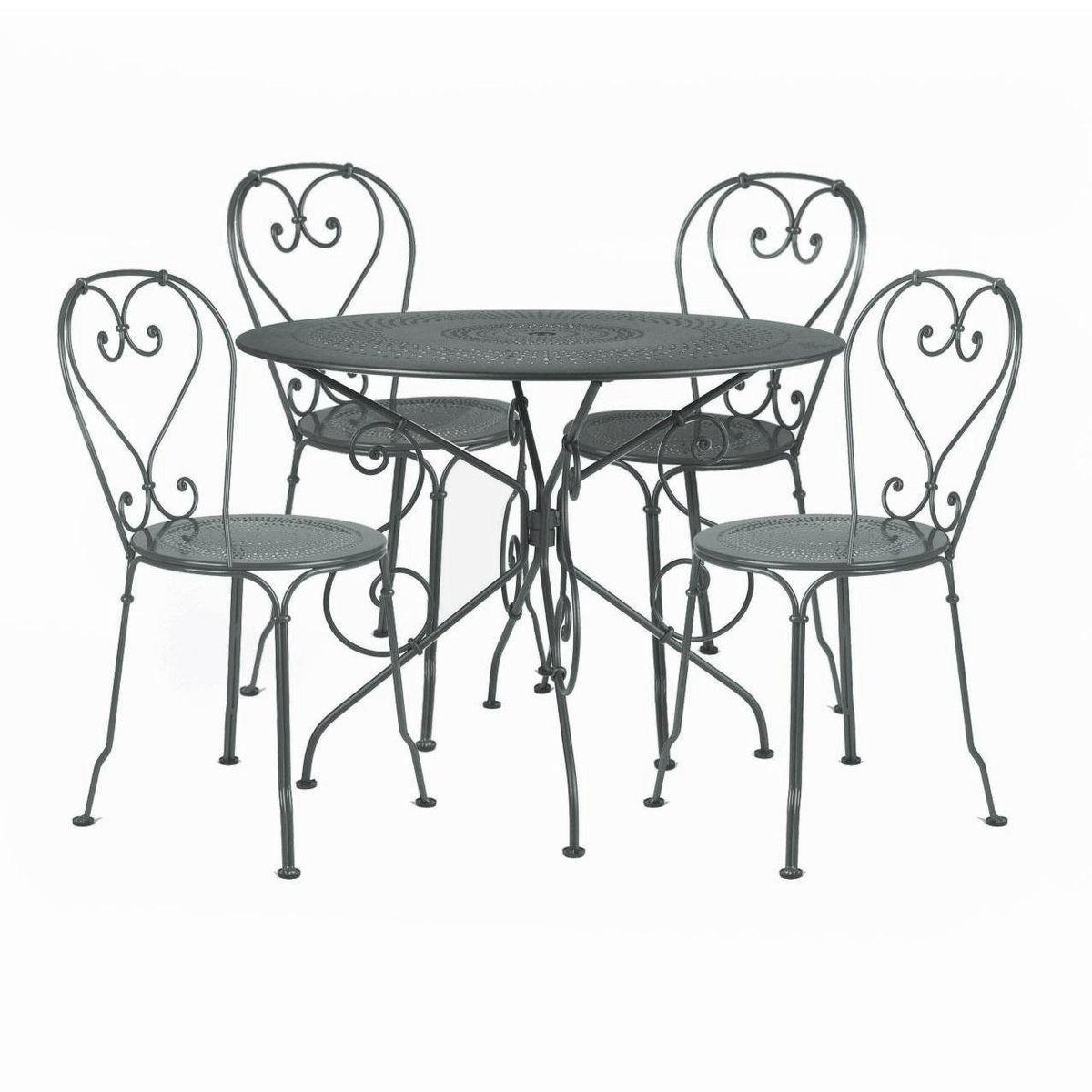 1900 ensemble de 4 chaises de jardin fermob set mobilier jardin. Black Bedroom Furniture Sets. Home Design Ideas