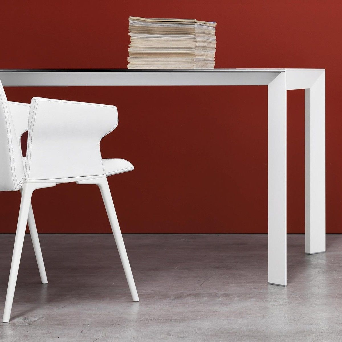 Nori Pure White Dining Table Extendable Kristalia