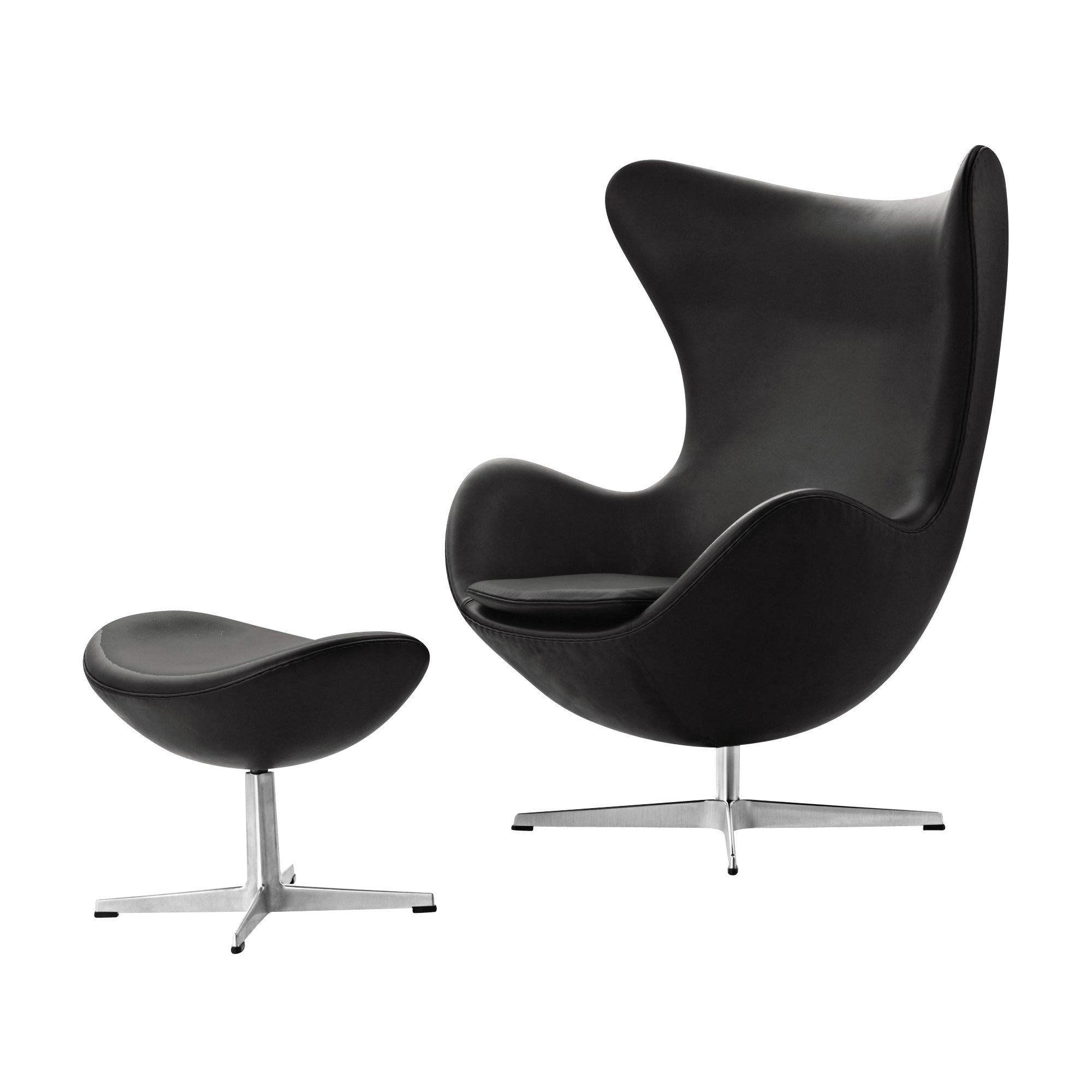 Actie set egg chair stoel voetenbank leder fritz for The egg stoel